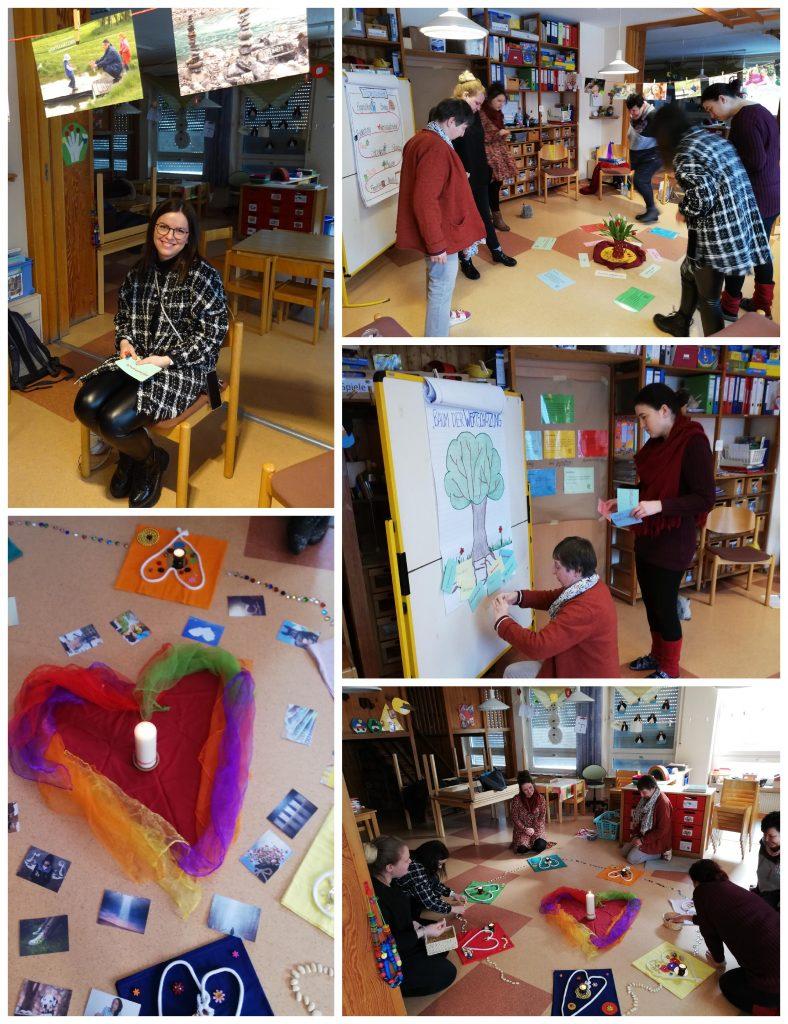 Mehrere Fotos der Kindergartenmitarbeitenden während der Fortbildung zum Thema Wertschätzung in der pädagogischen Praxis