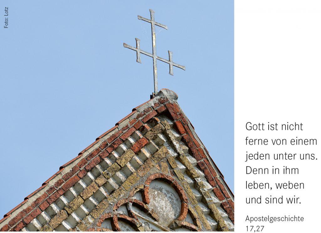 Symbolbild mit Monatsspruch Juli 2021: Gott ist nicht ferne von einem jeden unter uns. Denn in ihm leben, weben und sind wir (Apostelgeschichte 17,27)